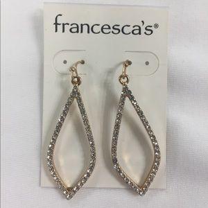 Francesca's gold rhinestone earrings